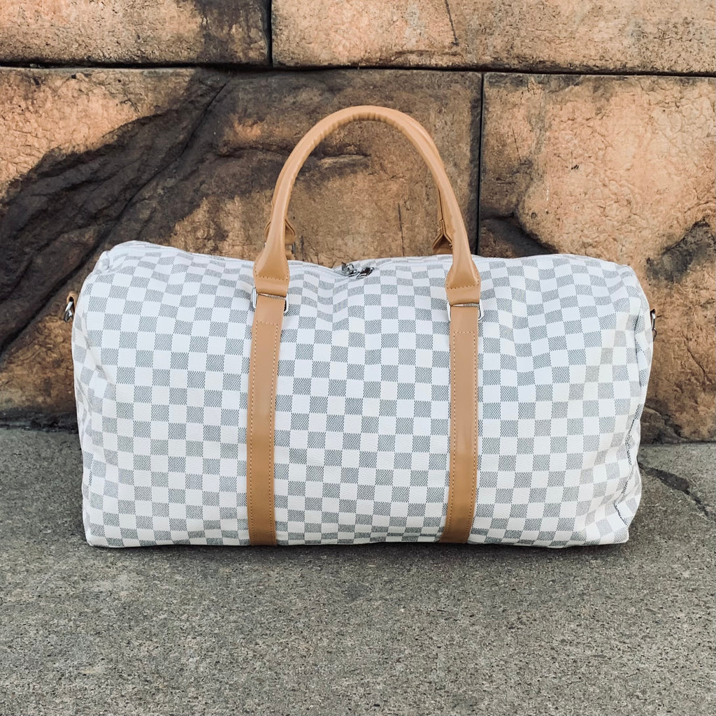 Cream Checkered Duffel Bag