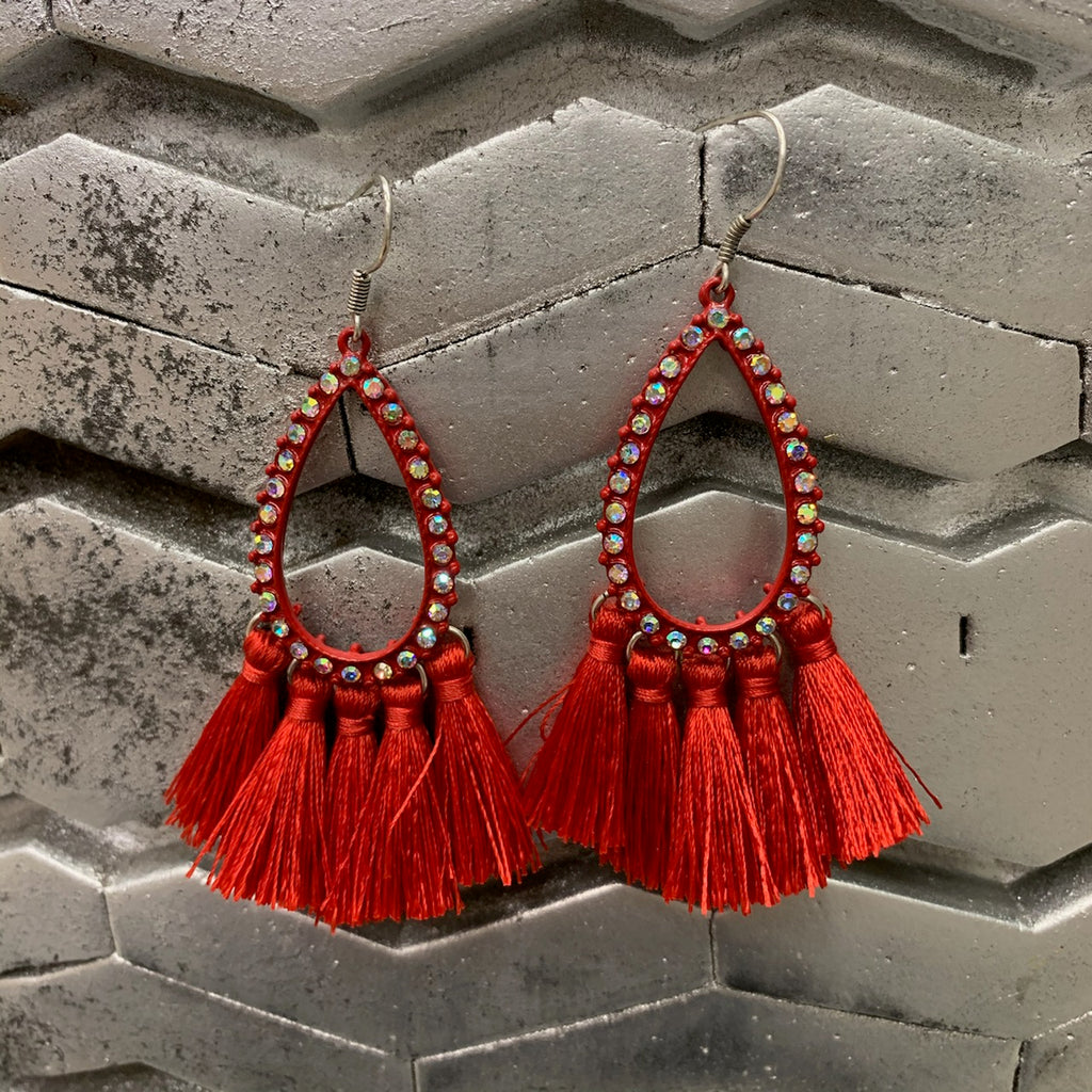 Red Temptress Tassel Earrings