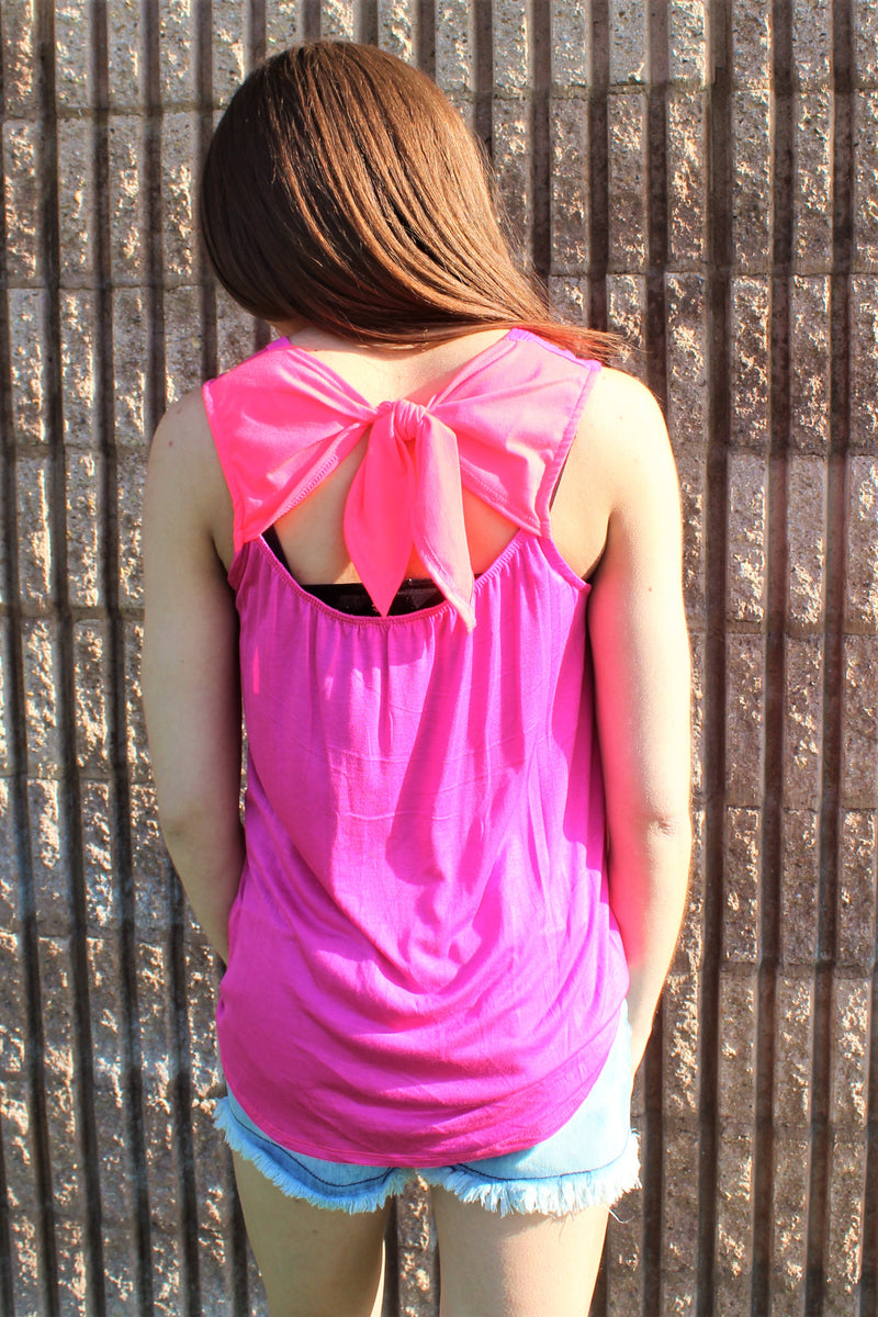 Neon Bow Back Tank