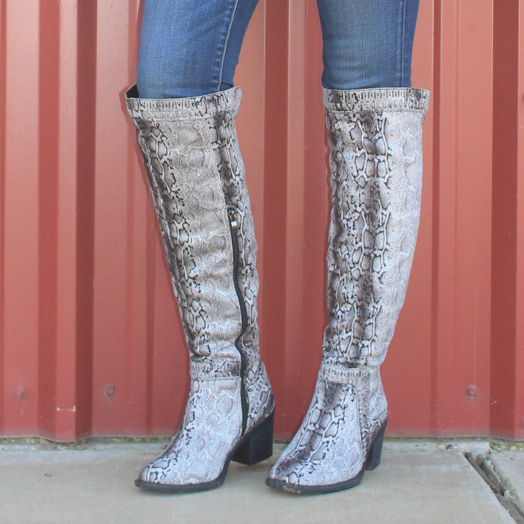 Rihanna Snakeskin Over Knee Boots by Corky's
