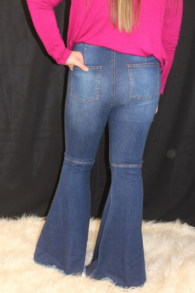 PLUS Medium Distressed Flare Jean