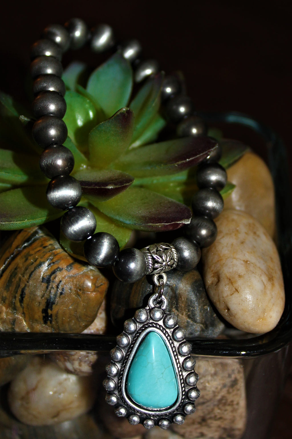 Natural Turquoise Charm Bracelet