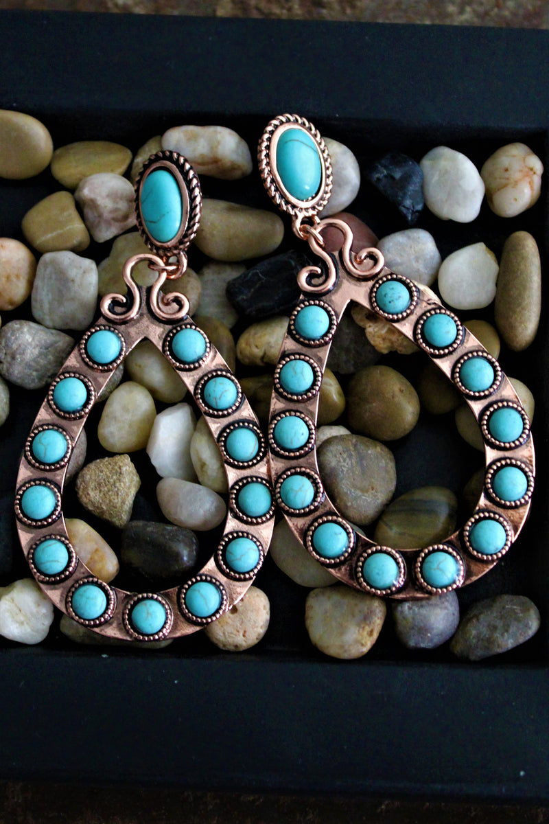 Texas Teardrop Copper Turquoise Earrings