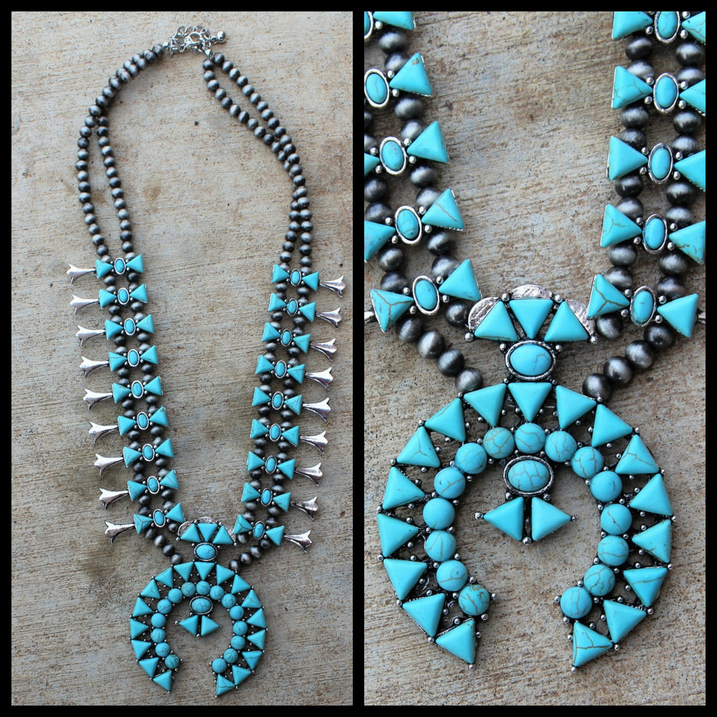 Turquoise Love Your Tribe Squash Blossom Necklace