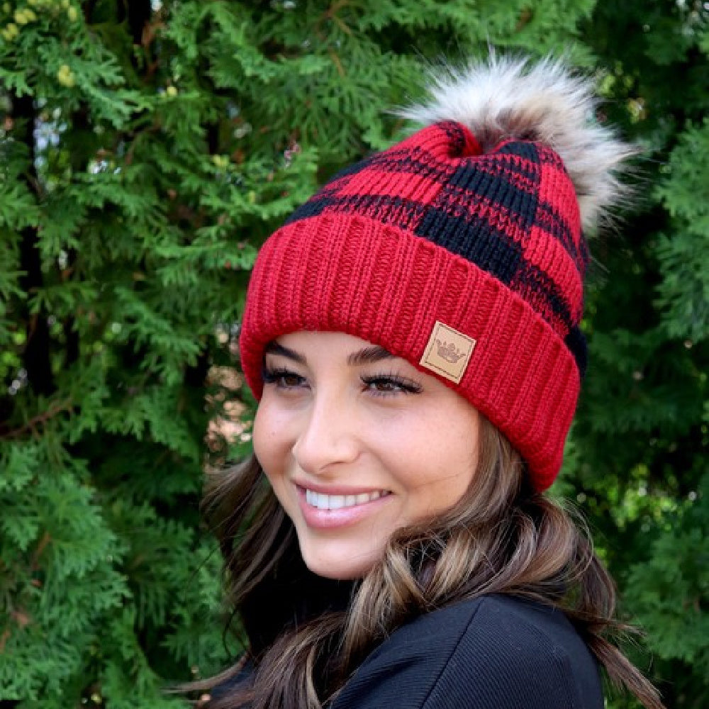 Panache Red Buffalo Plaid Pom Beanie
