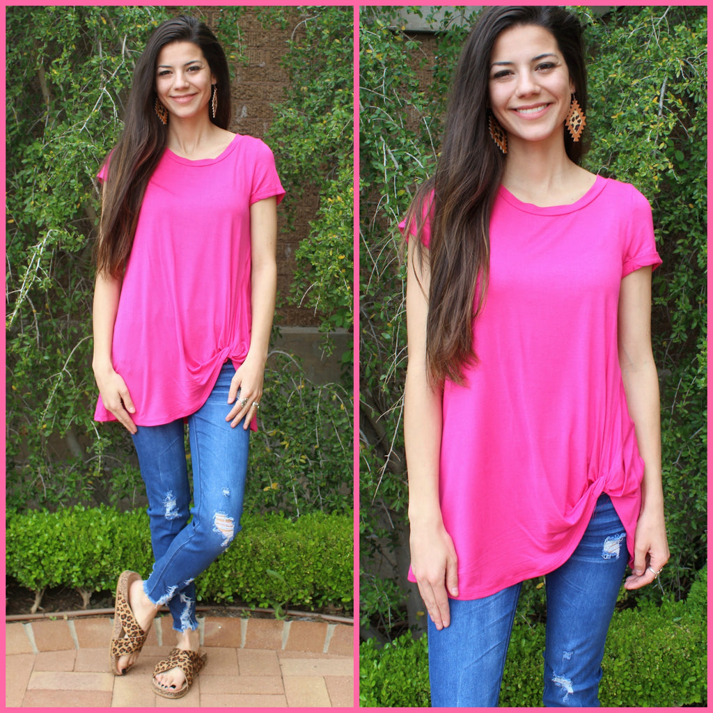 Hot Pink Solid Twist Top