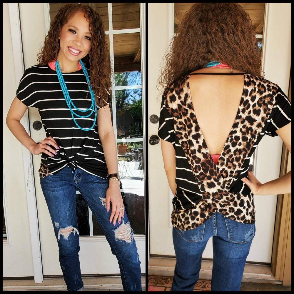 Black Striped and Leopard Cross-roads Top