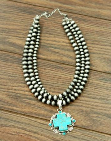 Western Pearl Necklace with Turquoise Cross
