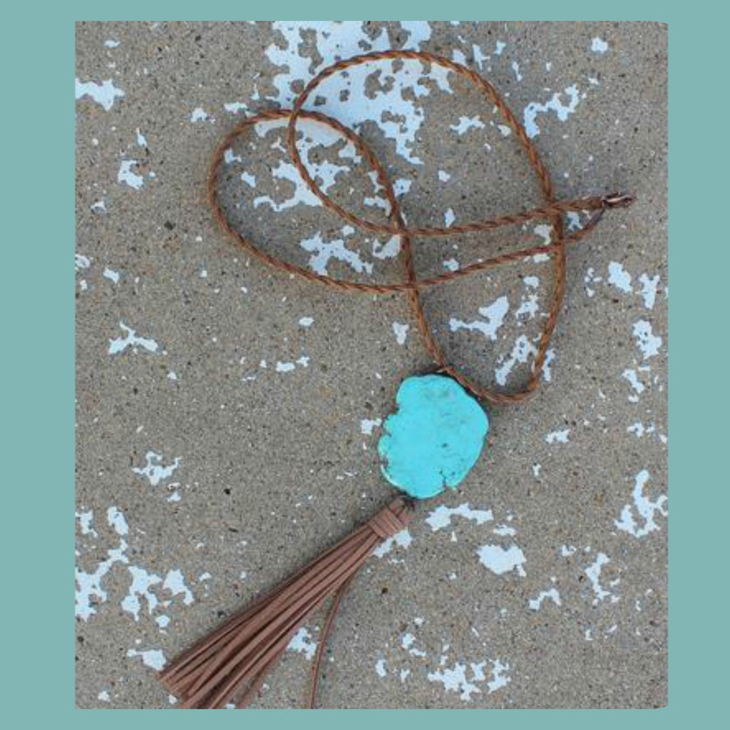 Braided Cord Turquoise Slab Necklace