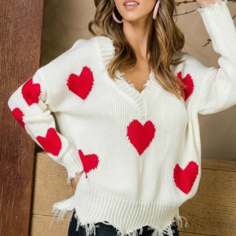 Red Hearts Frayed Sweater