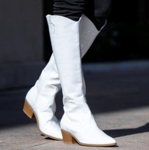 Poise and Grace White Boots