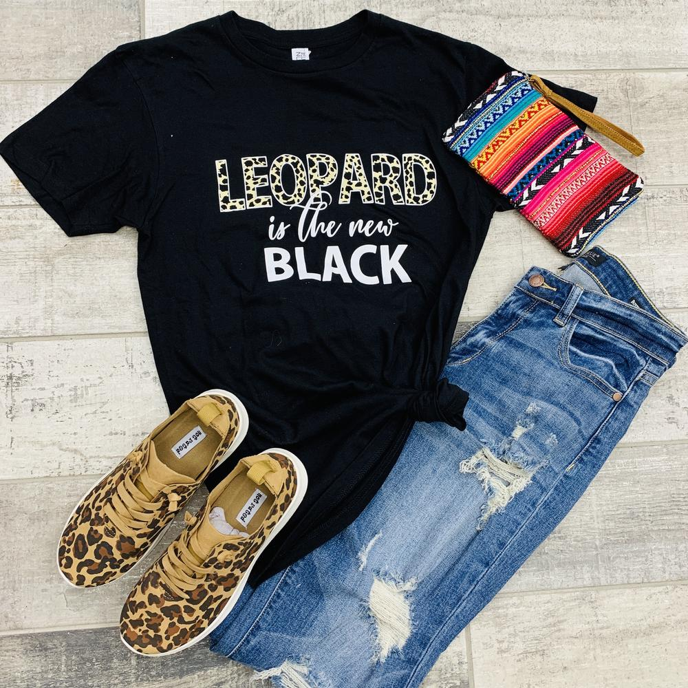 Plus Black Leopard Graphic Tee