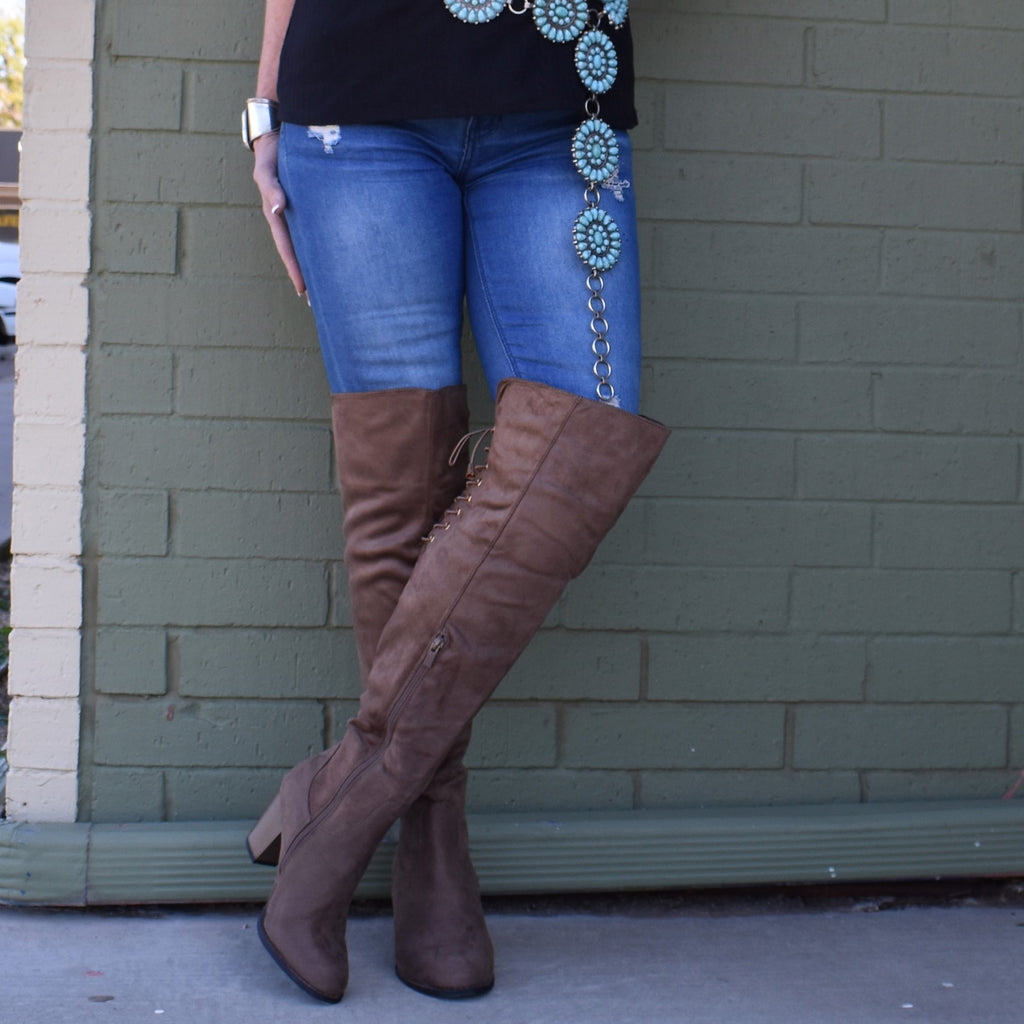 Brown Corset Over The Knee Boots