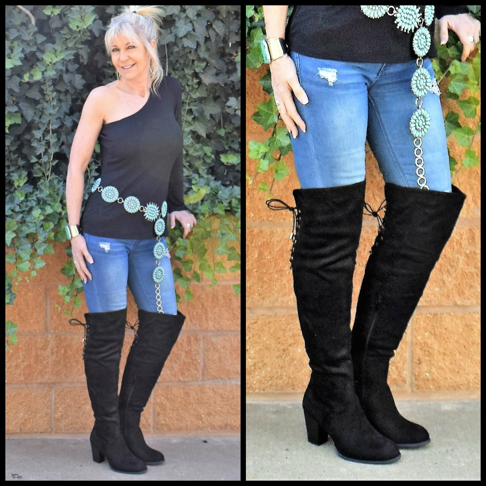 Black Corset Over The Knee Boots
