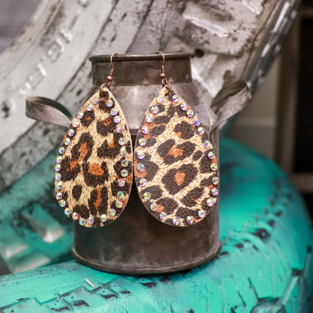 Def Leopard Teardrops with Crystals