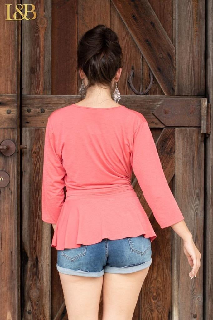 Coral Bulgari Wrap Top