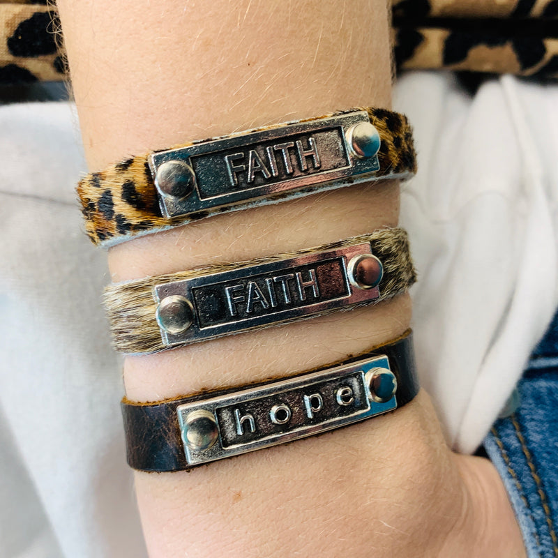 Hope & Faith Leather Bracelets