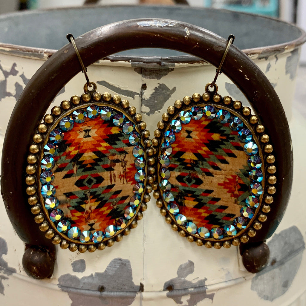 Aztec Layover Oval Earrings