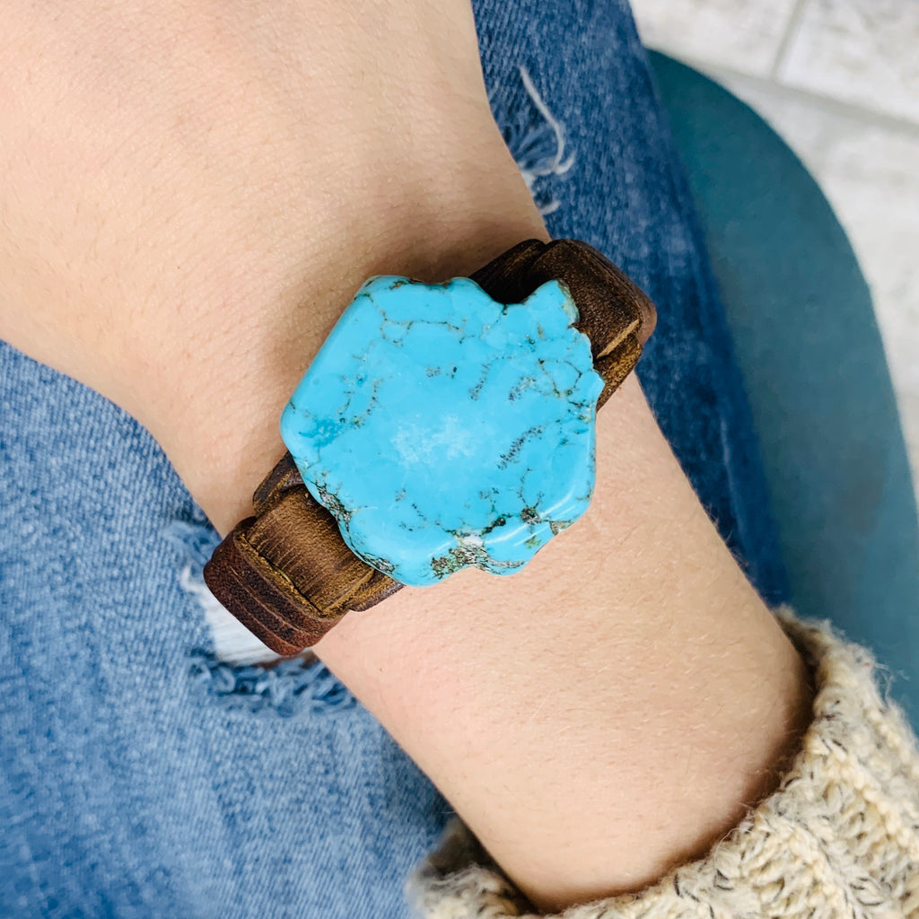 Flintstones Turquoise Slab Leather Bracelet