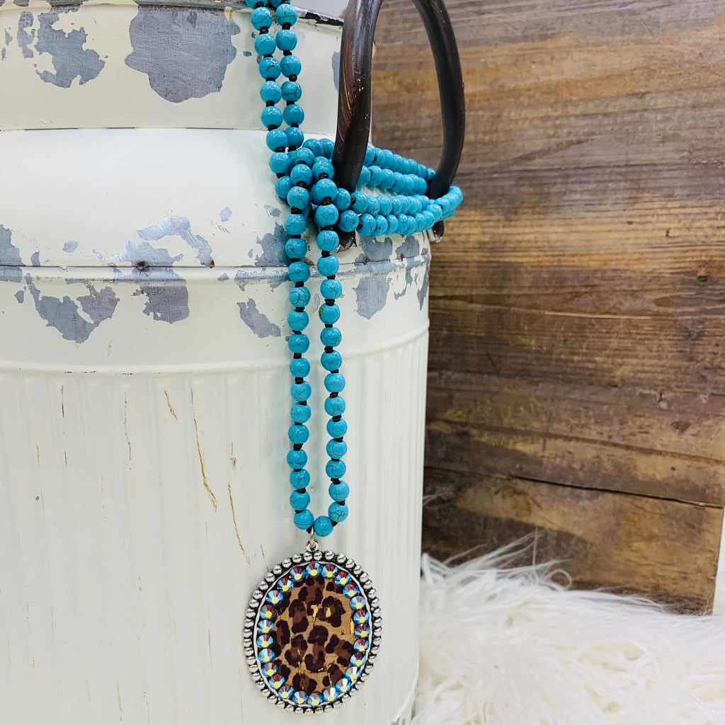 Leopard and Turquoise Inlay Necklace