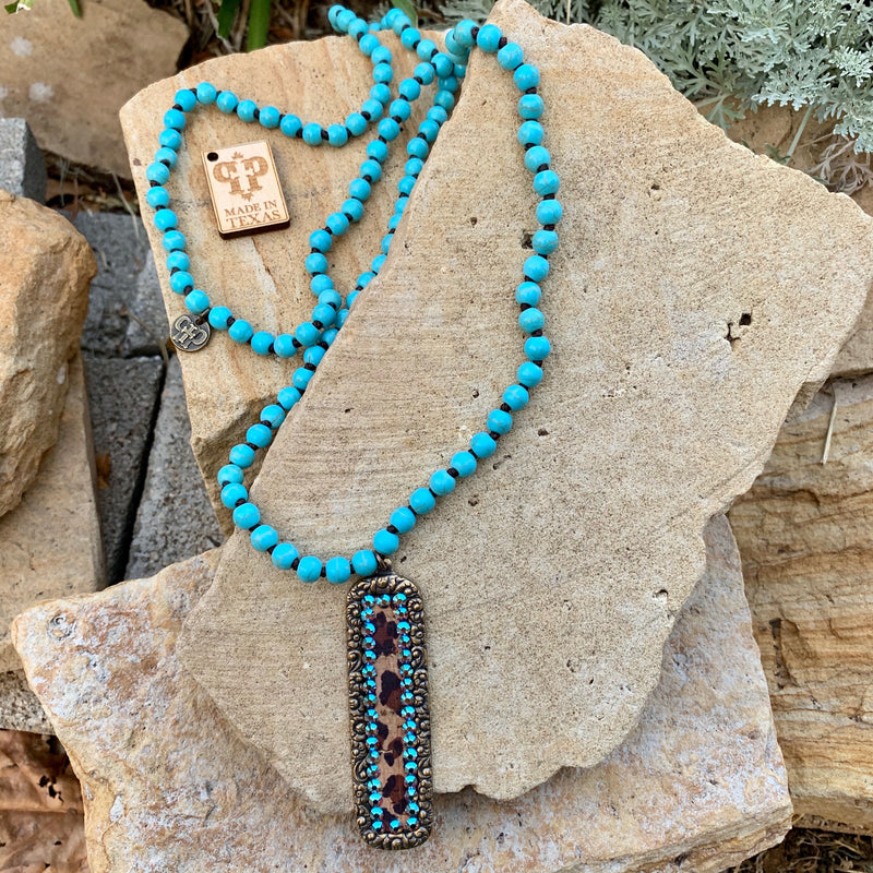 Leopard One Way Turquoise Necklace