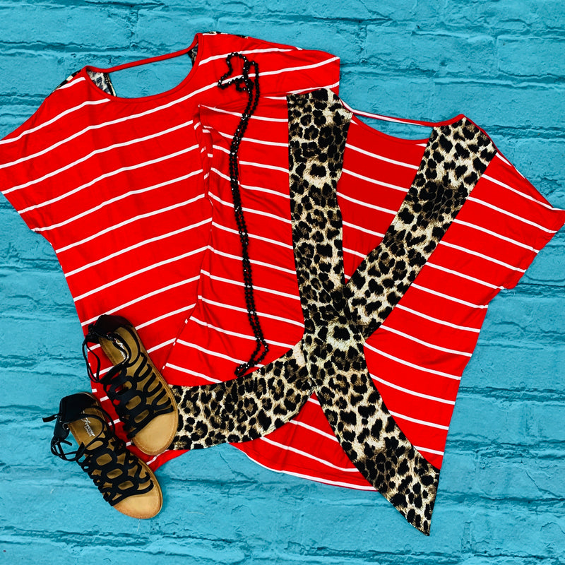 PLUS Red Striped and Leopard Cross-roads Top