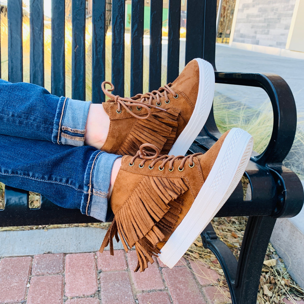 Fringed Out Moccasin Sneaker Wedge