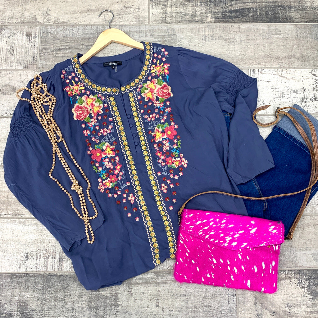 PLUS Blue Fall Blooms Top