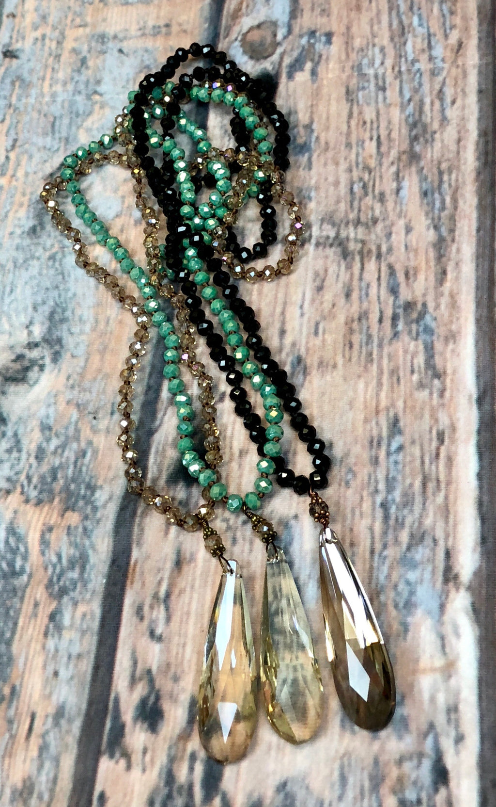 Beaded Glass Drop Necklace