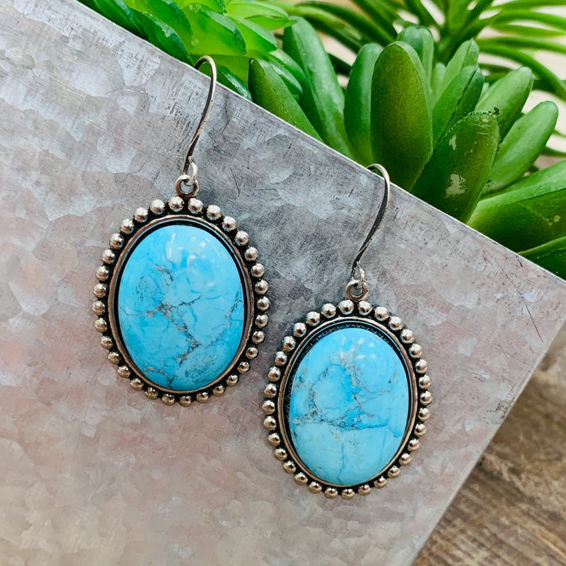 One Turquoise Stone Earrings