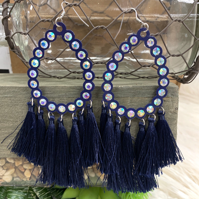 All American Navy Fringe Earring