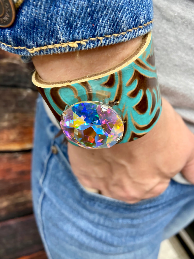 Crystal Turquoise Cuff Bracelet