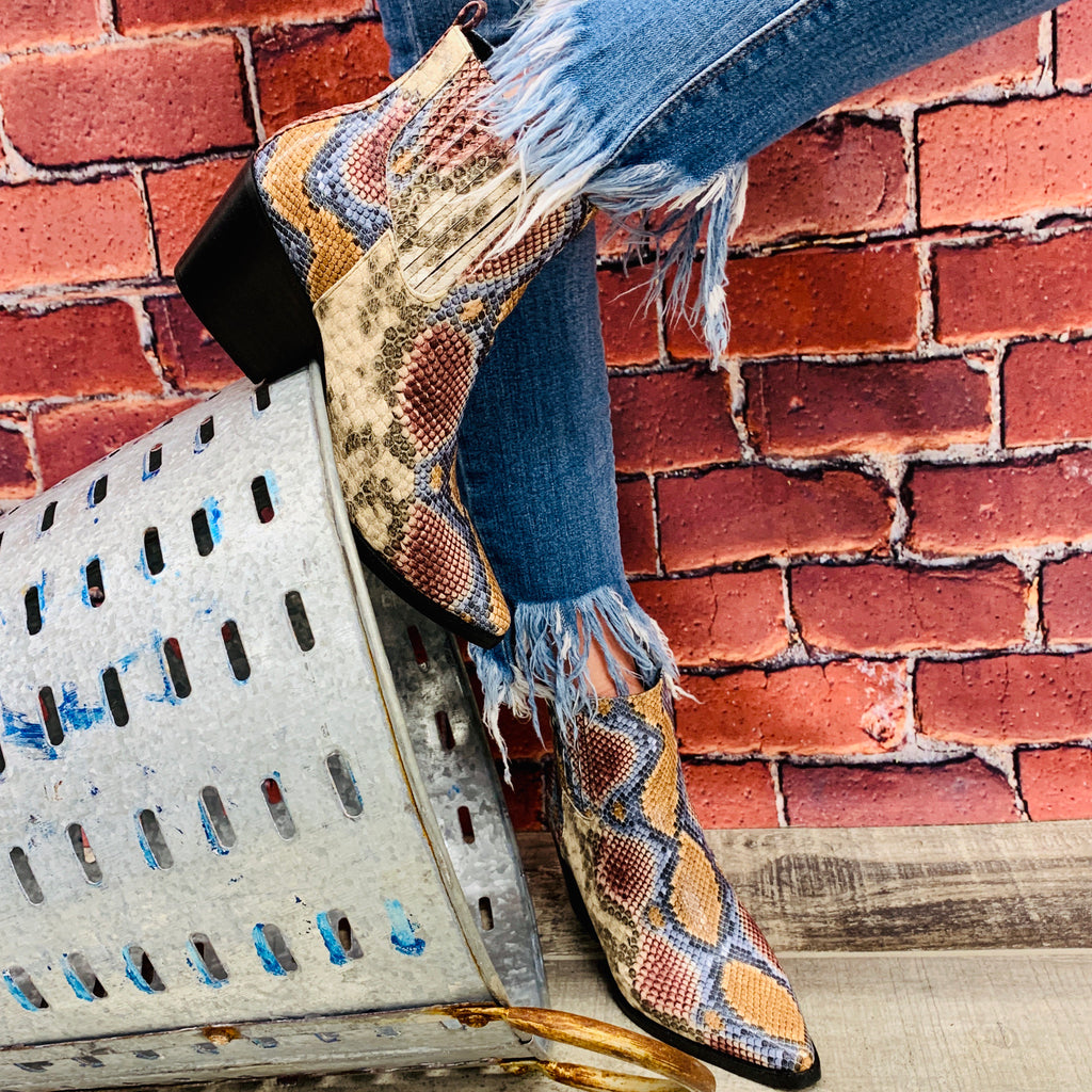 New York Snakeskin Bootie