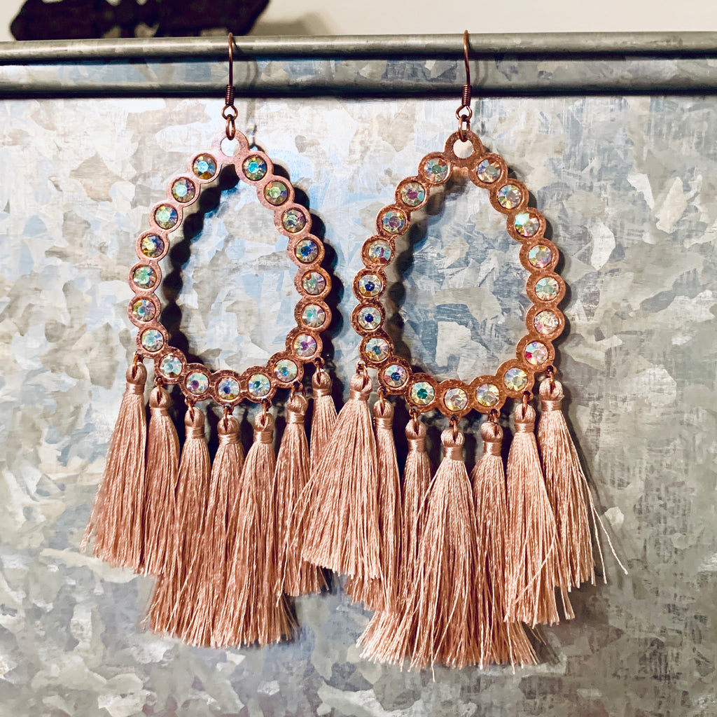 All American Mauve Fringe Earring