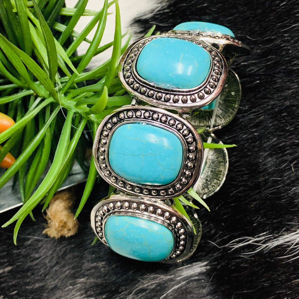 Calico Turquoise Stretch Bracelet