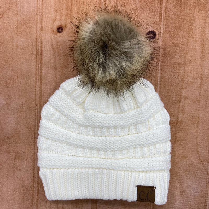 Textured CC Beanie with Pom Pom
