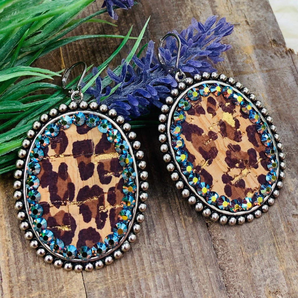 Leopard Layover Oval Earrings