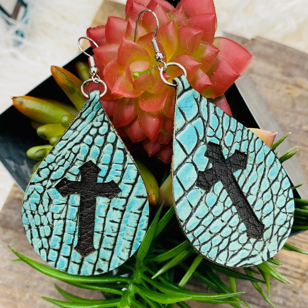 River Wash Cross Earring