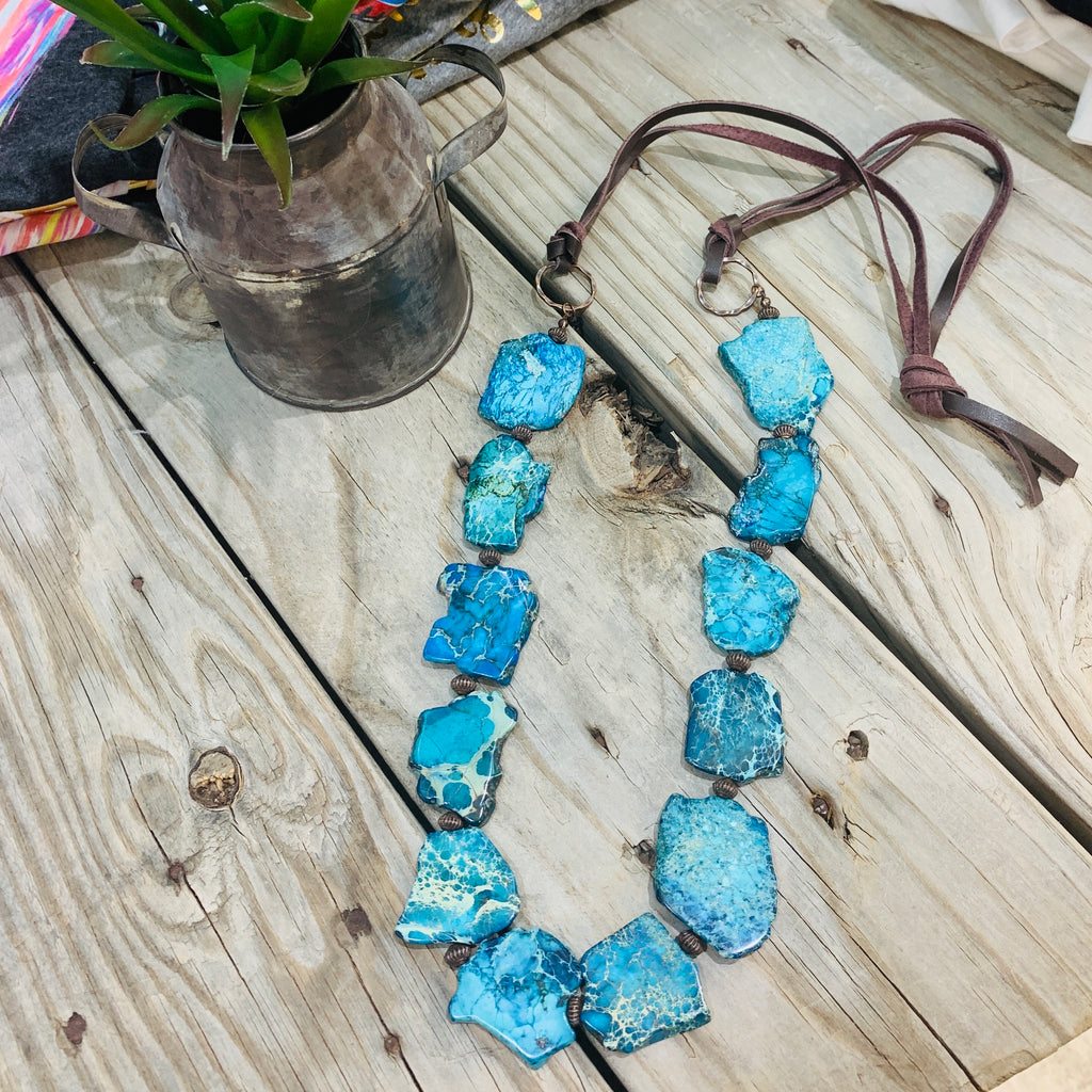 Lakota Turquoise Slab Necklace