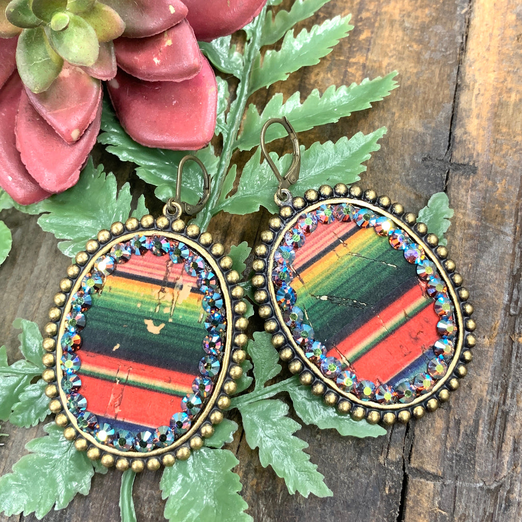 Serape Layover Oval Earrings