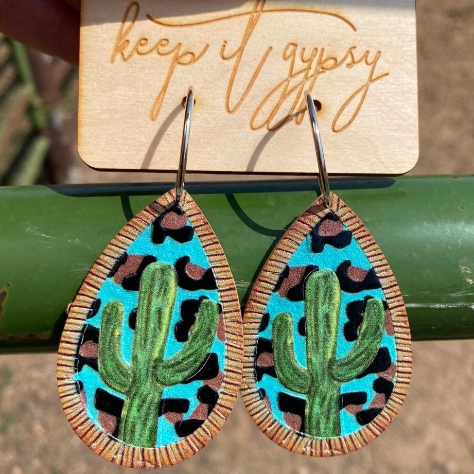 Painted Desert Leather Earrings