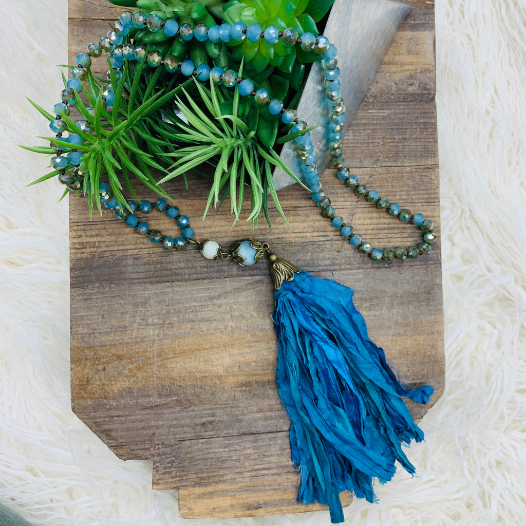 Peacock Bead & Tassel Necklace
