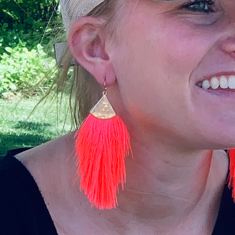 Fringe For Sure Neon Coral Earring