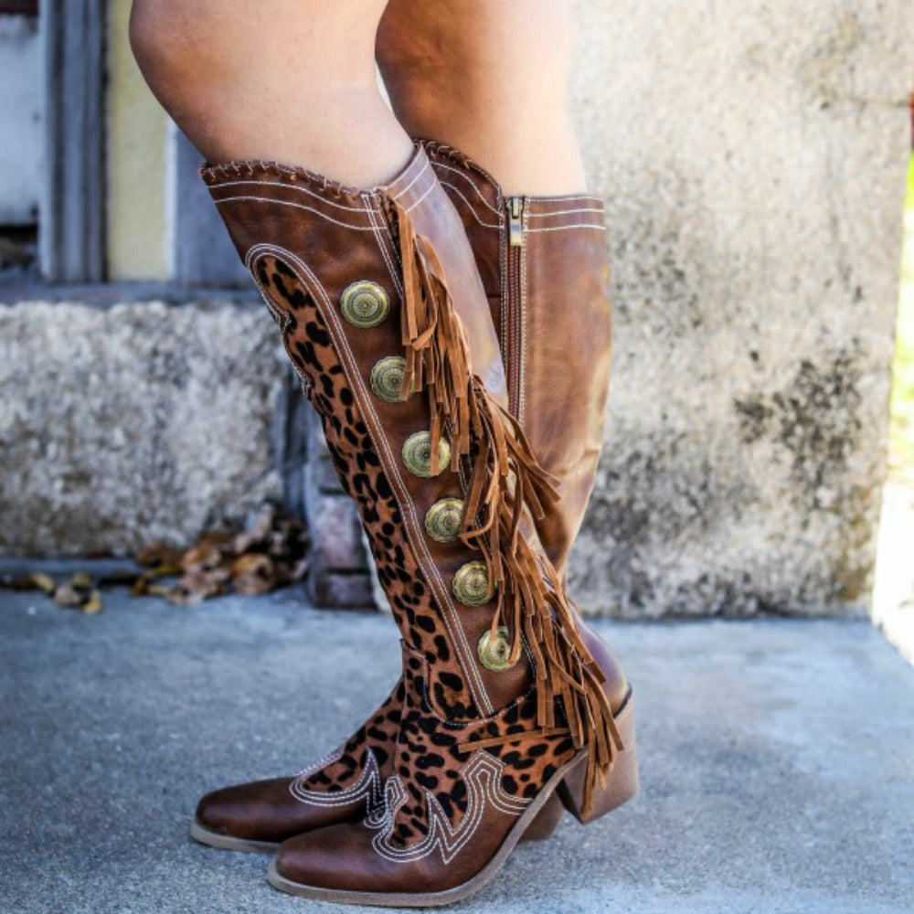 Leopard Concho Fringe Boot