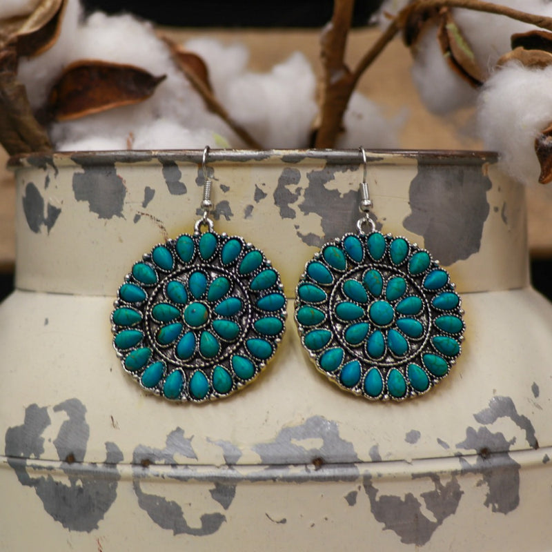 Floral Turquoise Mandala Earring