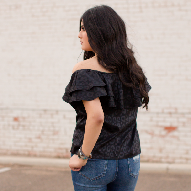 Midnight Leopard Ruffle Top