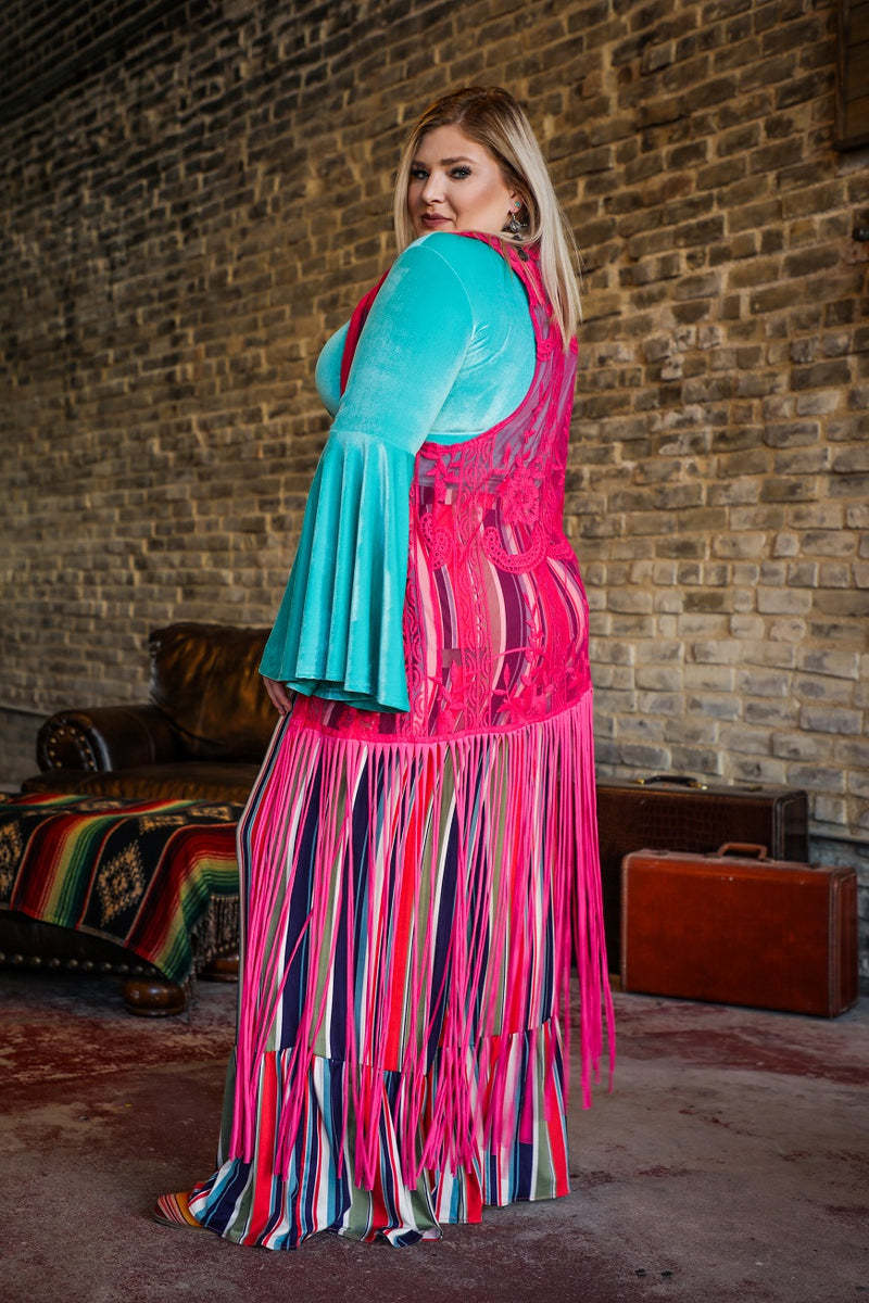 Plus Neon Pink Love Deeply Fringe Vest
