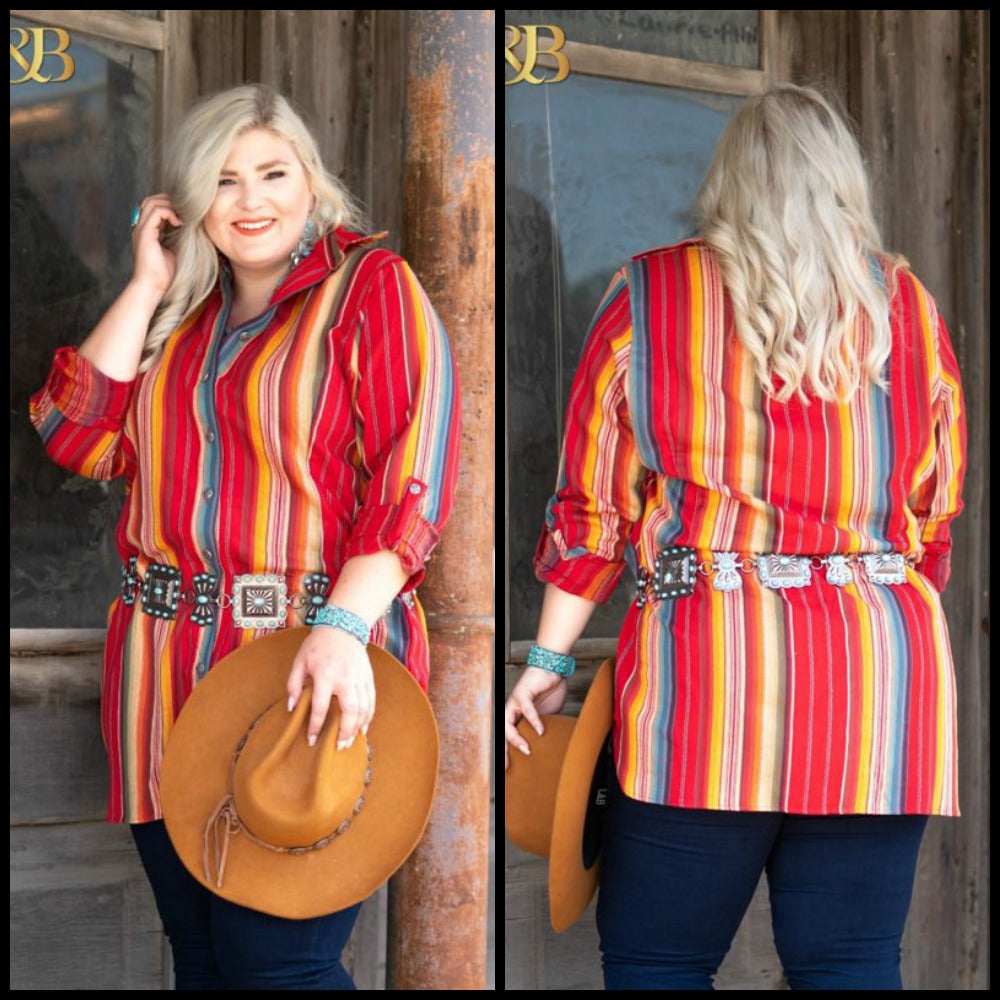 Plus Red Serape Tunic