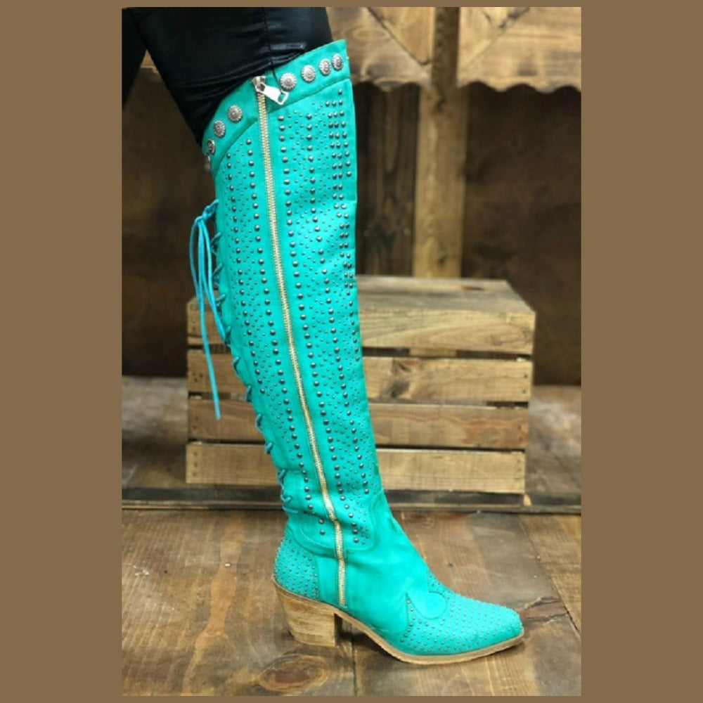 Turquoise Stud Over The Knee Boot