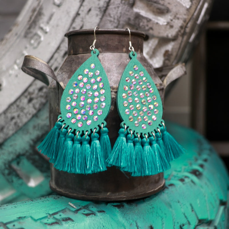Turquoise Freestyle Tassel Earring